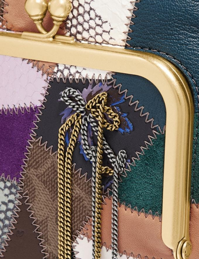 Coach Double Frame Crossbody With Signature Patchwork Tan/Black Multi/Brass Women Bags Crossbody Bags Alternate View 4
