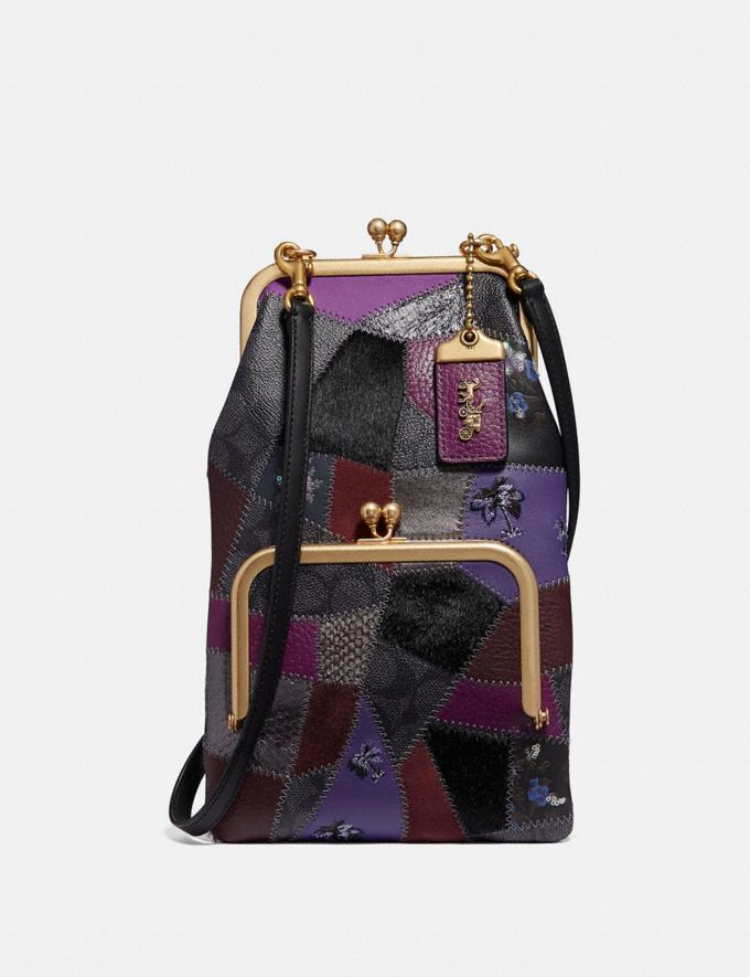 Coach Double Frame Crossbody With Signature Patchwork Royal Purple/Brass Women Bags Crossbody Bags