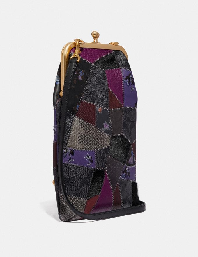 Coach Double Frame Crossbody With Signature Patchwork Royal Purple/Brass Women Bags Crossbody Bags Alternate View 1