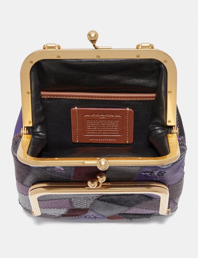 Coach Double Frame Crossbody With Signature Patchwork Royal Purple/Brass Women Bags Crossbody Bags Alternate View 2