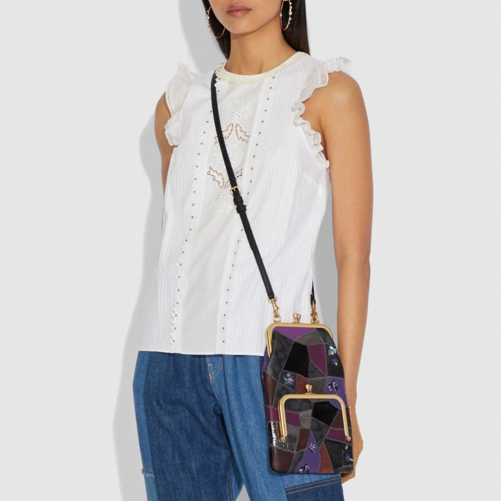 Coach Double Frame Crossbody With Signature Patchwork Alternate View 3