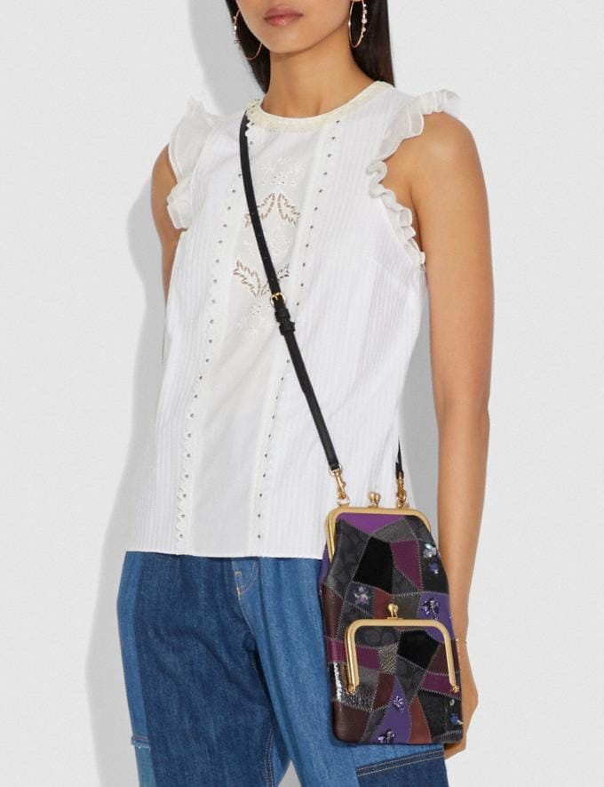Coach Double Frame Crossbody With Signature Patchwork Royal Purple/Brass Women Bags Crossbody Bags Alternate View 3