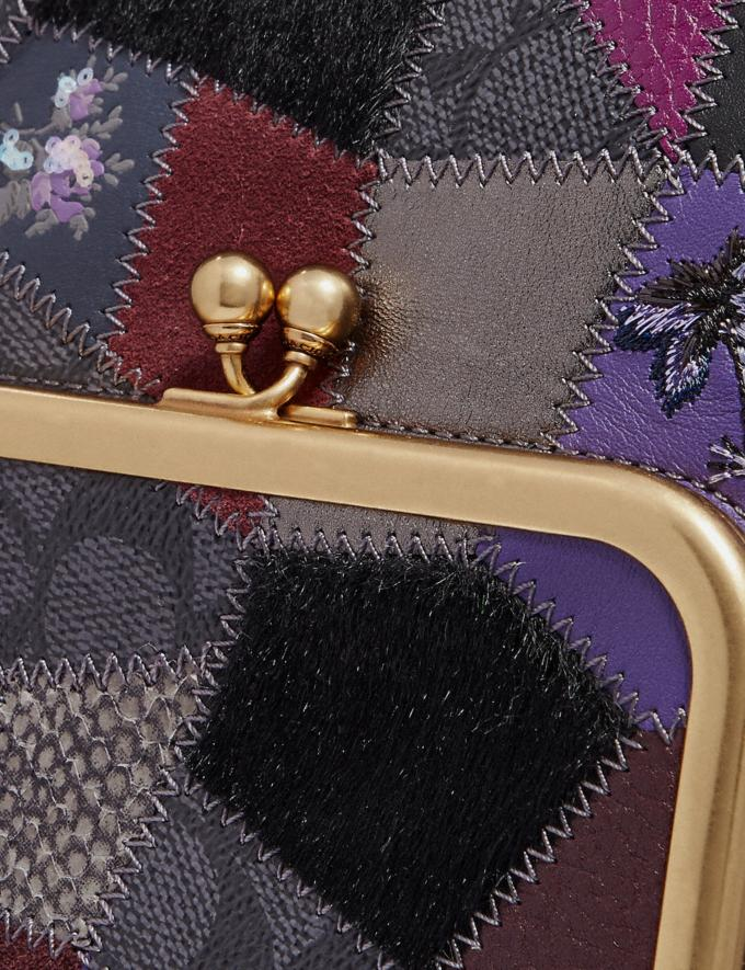 Coach Double Frame Crossbody With Signature Patchwork Royal Purple/Brass Women Bags Crossbody Bags Alternate View 4