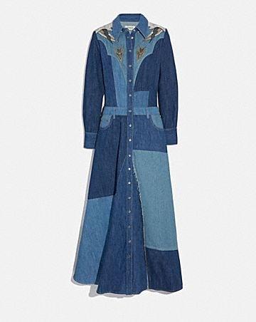 DENIM PATCHWORK LONG DRESS