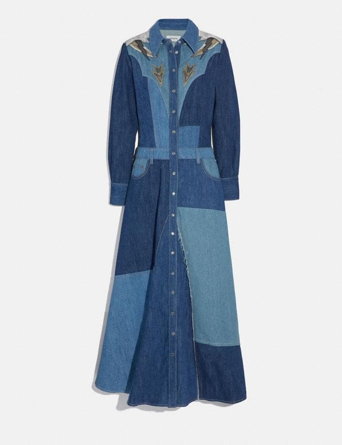 Coach Denim Patchwork Long Dress Blue SALE Women's Sale Ready-to-Wear