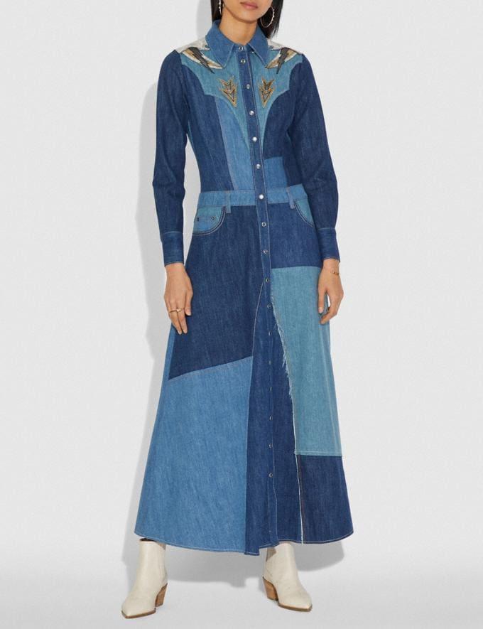 Coach Denim Patchwork Long Dress Blue SALE Women's Sale Ready-to-Wear Alternate View 1