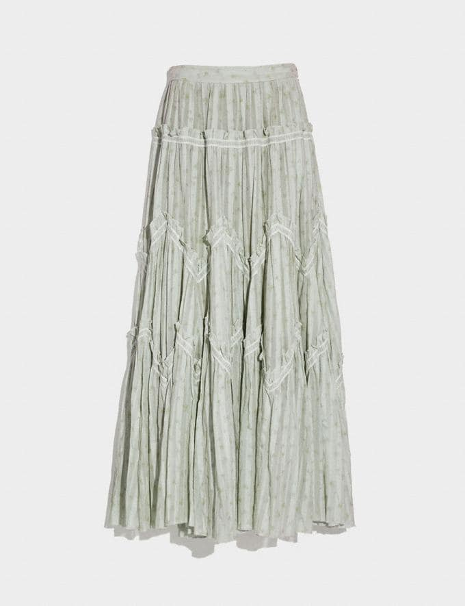 Coach Ranchero Deluxe Long Skirt Pale Green Women Ready-to-Wear Bottoms