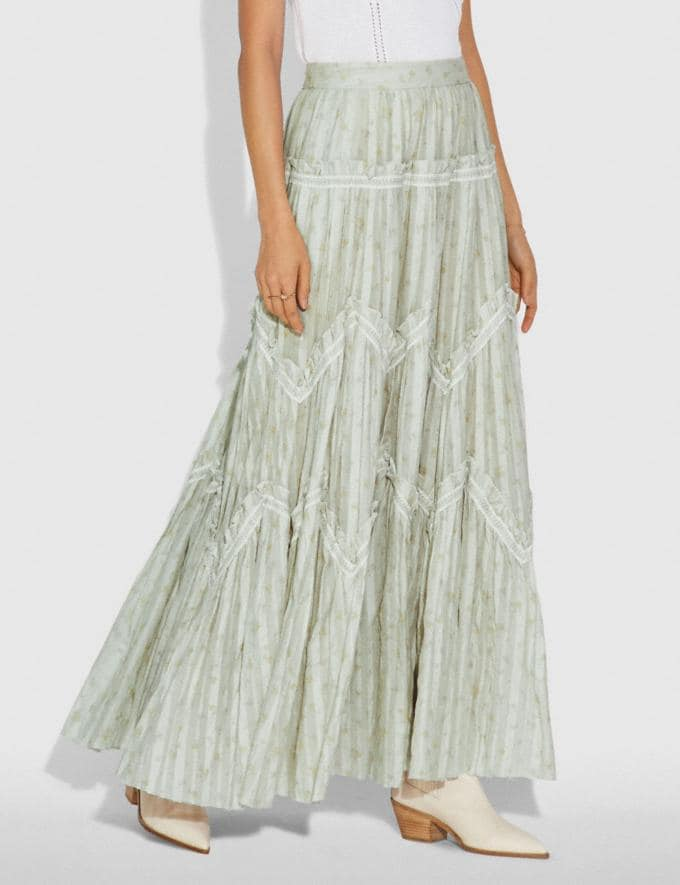 Coach Ranchero Deluxe Long Skirt Pale Green Women Ready-to-Wear Bottoms Alternate View 1