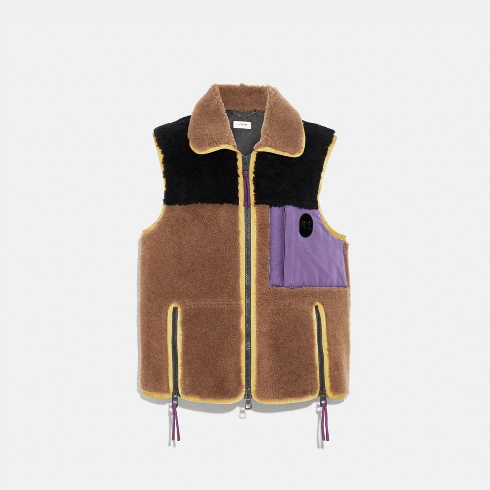 Coach Colorblocked Shearling Vest