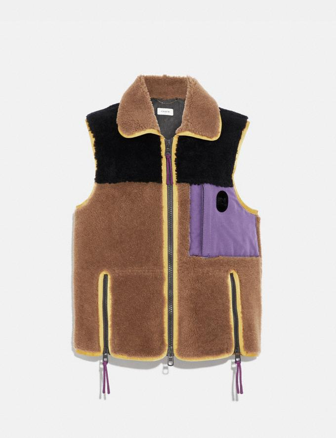Coach Colorblock Shearling Vest Burnt Sienna
