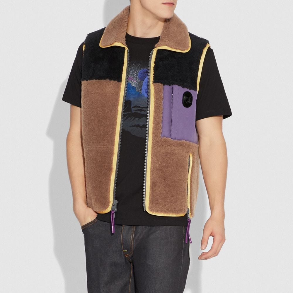 Coach Colorblocked Shearling Vest Alternate View 1