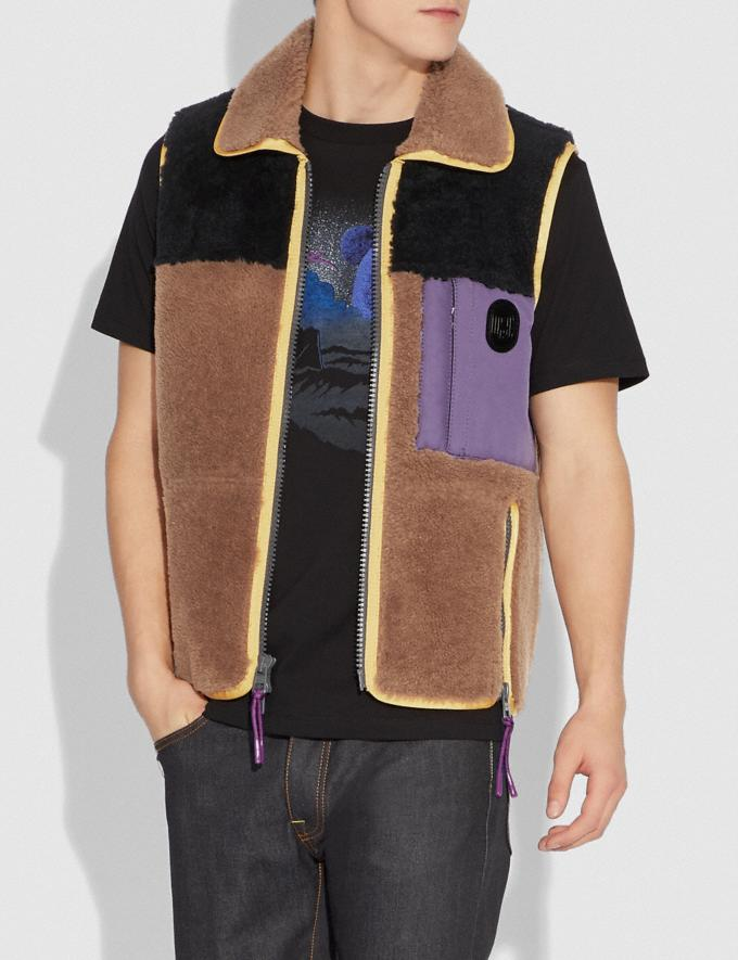 Coach Colorblock Shearling Vest Burnt Sienna  Alternate View 1
