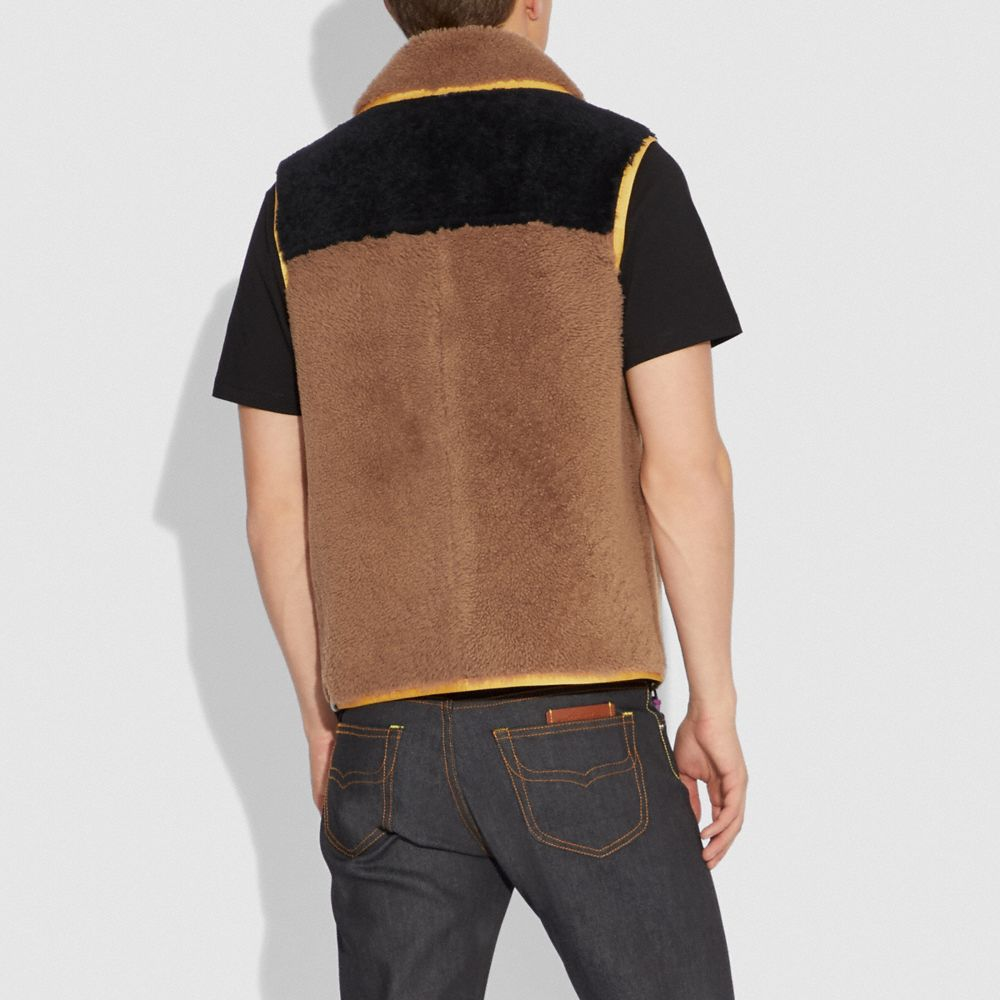 Coach Colorblocked Shearling Vest Alternate View 2