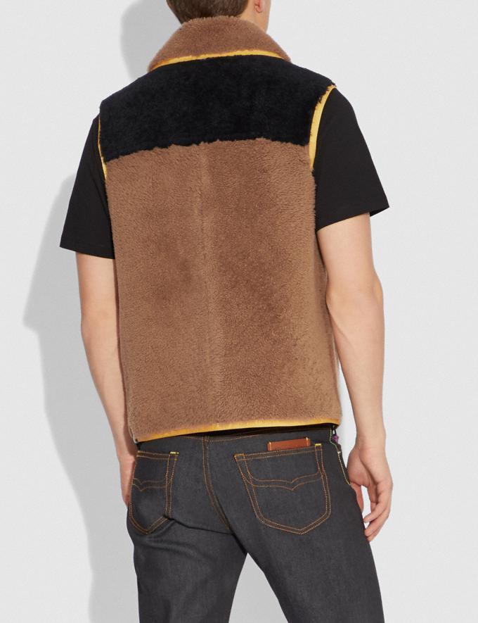Coach Colorblock Shearling Vest Burnt Sienna Men Ready-to-Wear Jackets & Outerwear Alternate View 2