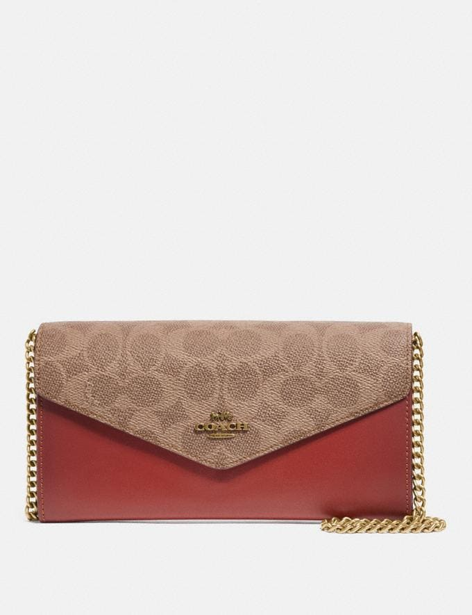 Coach Envelope Chain Wallet in Colorblock Signature Canvas Tan/Rust/Brass Women Small Leather Goods Large Wallets