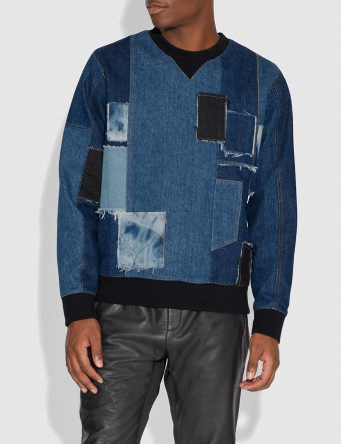 Coach Denim Patchwork Sweatshirt Denim Men Ready-to-Wear Tops & Bottoms Alternate View 1