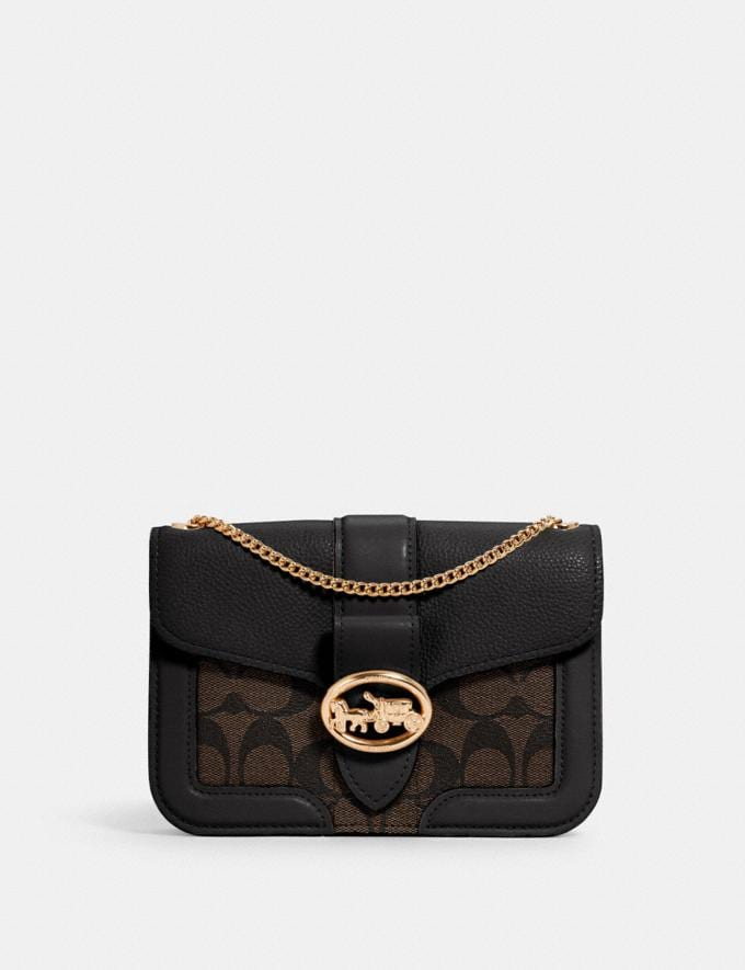 Coach Georgie Crossbody in Signature Canvas Im/Brown Black Outlet Women's Wallets