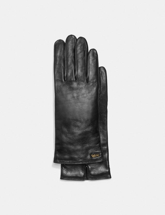 Coach Horse and Carriage Leather Tech Gloves Black Women Accessories Scarves & Gloves
