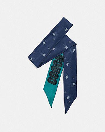 signature magic star print silk skinny scarf