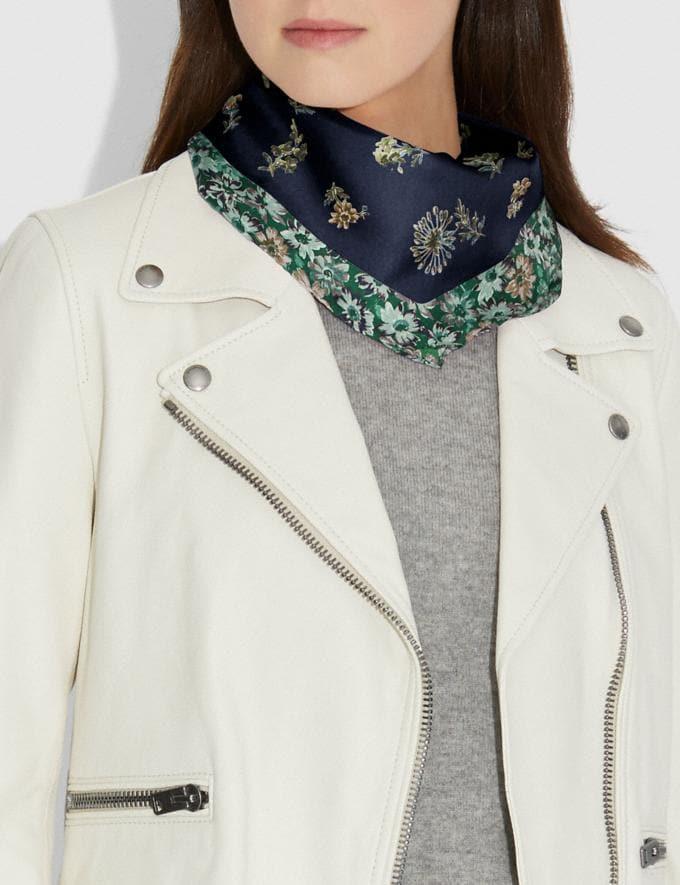 Coach Prairie Floral Print Silk Diamond Navy Women Accessories Scarves Alternate View 1