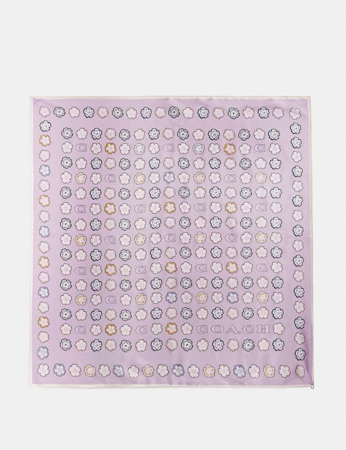 Coach Tea Rose Silk Square Scarf Purple Women Accessories Scarves and Gloves