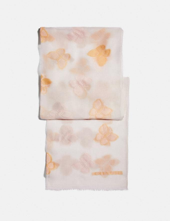 Coach Butterfly Print Silk Oblong Scarf Chalk Women Accessories Scarves and Gloves