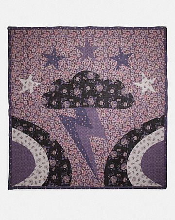 GRAND FOULARD CARRÉ AVEC MOTIF PATCHWORK GLAM ROCK
