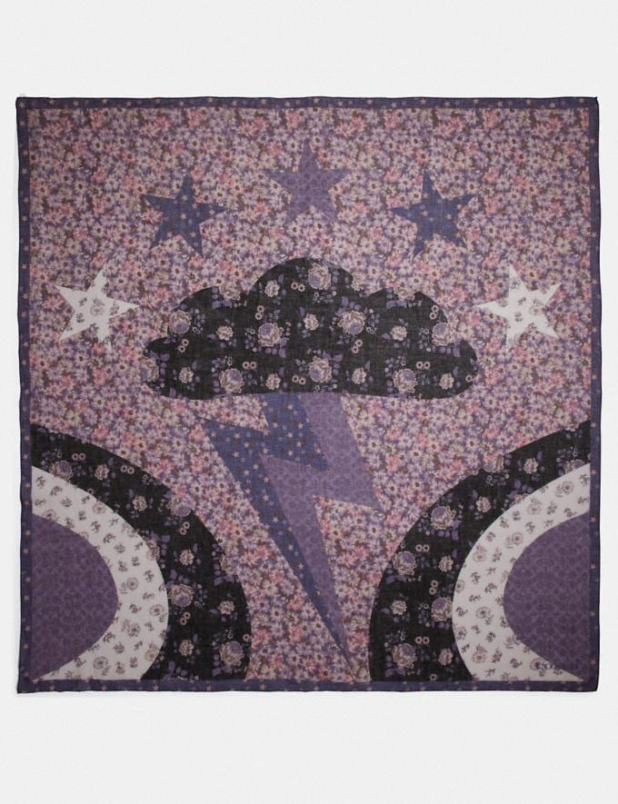 Coach Glam Rock Patchwork Oversized Square Scarf Dusty Lavender Women Accessories Scarves