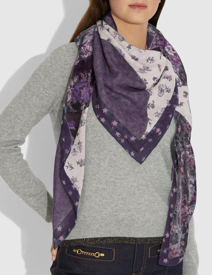 Coach Glam Rock Patchwork Oversized Square Scarf Dusty Lavender Women Accessories Scarves Alternate View 1