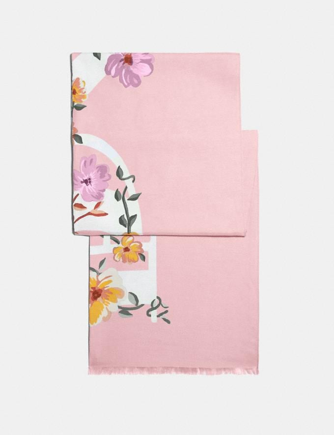 Coach Coach Floral Bow Print Oblong Scarf Pink Women Accessories Scarves and Gloves