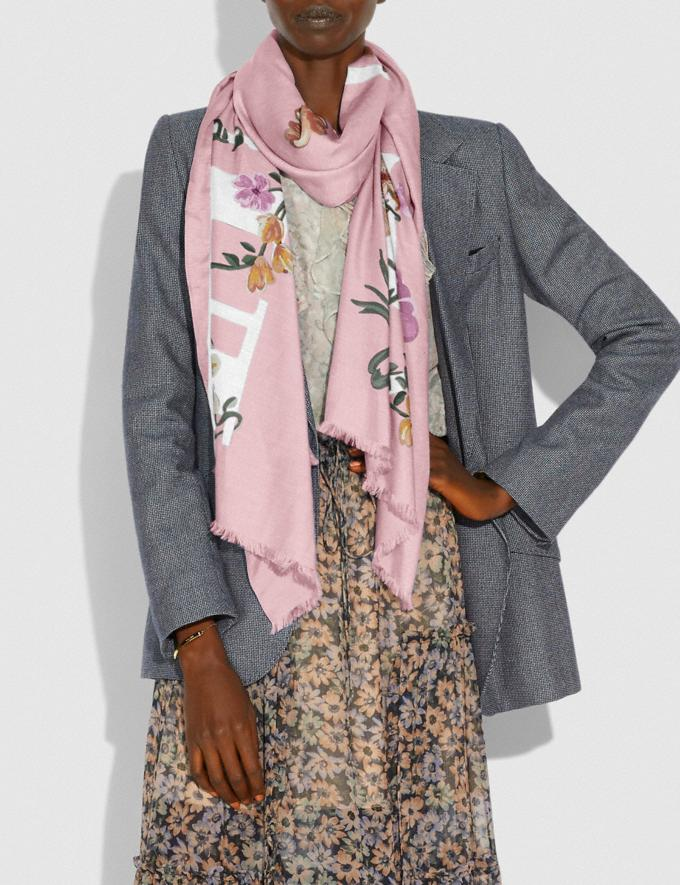 Coach Coach Floral Bow Print Oblong Scarf Pink Women Accessories Hats Scarves and Gloves Alternate View 1