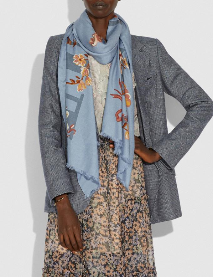 Coach Coach Floral Bow Print Oblong Scarf Grey Women Accessories Scarves and Gloves Alternate View 1