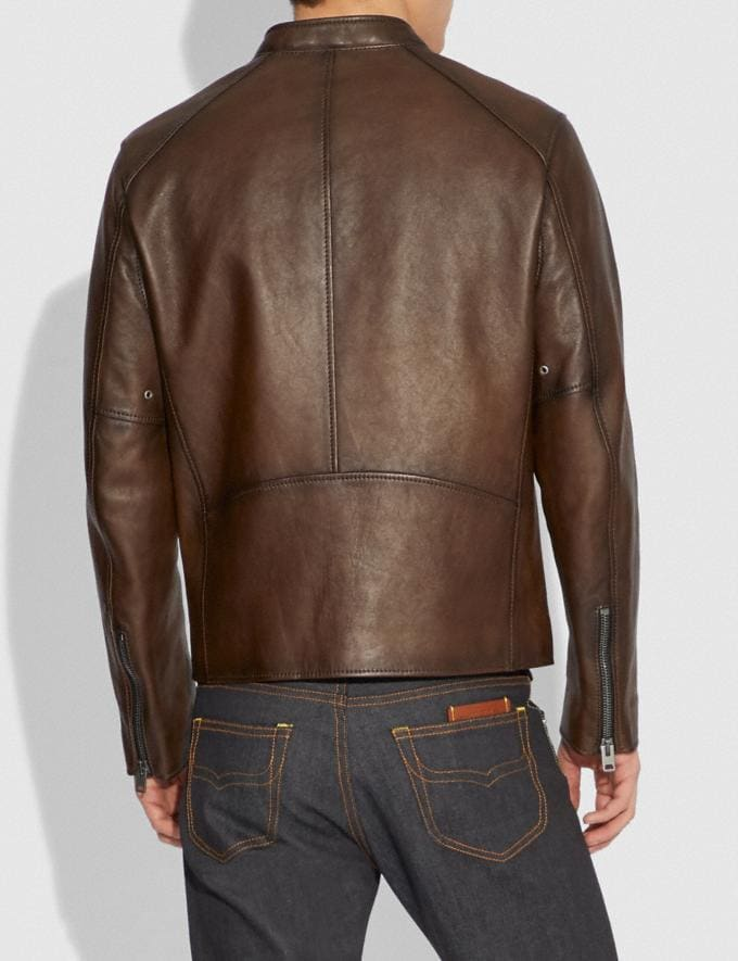 Coach Leather Racer Jacket Dark Saddle Men Edits Work Alternate View 2