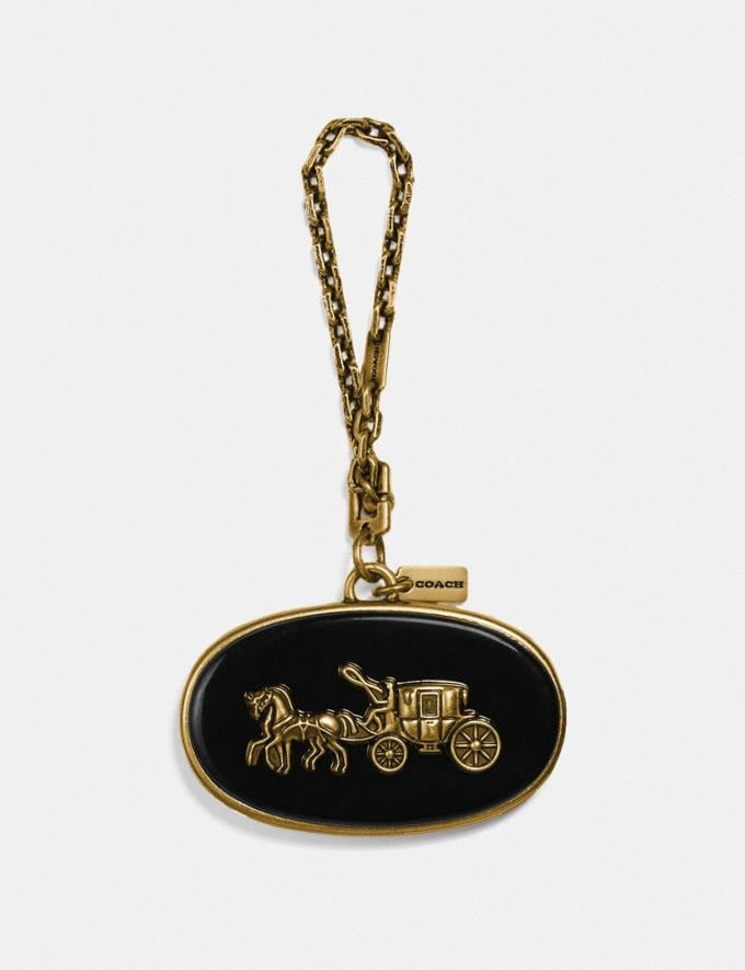 Coach Horse and Carriage Plaque Bag Charm Black/Brass Women Accessories Bag Charms & Key Rings