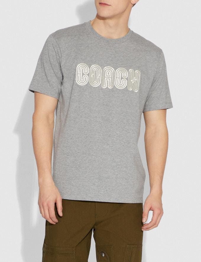 Coach Embroidered Coach Print T-Shirt Heather Grey SALE Men's Sale Ready-to-Wear Alternate View 1
