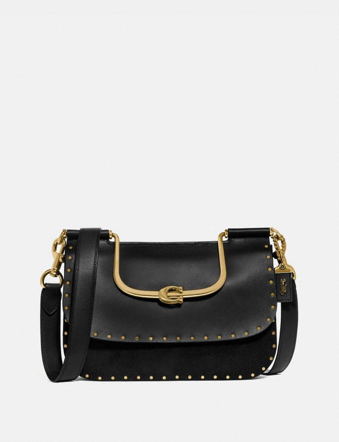 Coach Ellie Crossbody With Rivets Black/Brass Women Bags Crossbody Bags