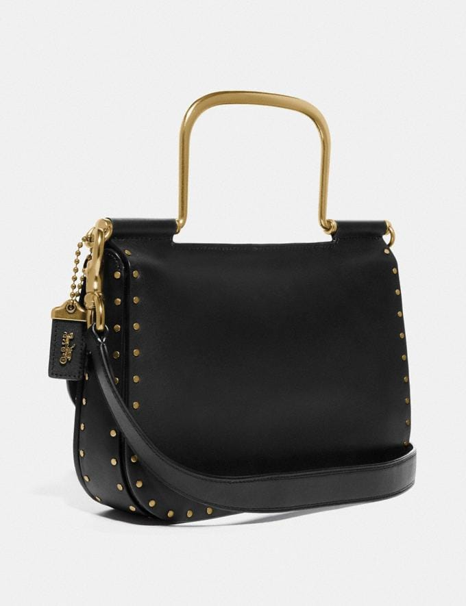 Coach Ellie Crossbody With Rivets Black/Brass Women Bags Crossbody Bags Alternate View 1