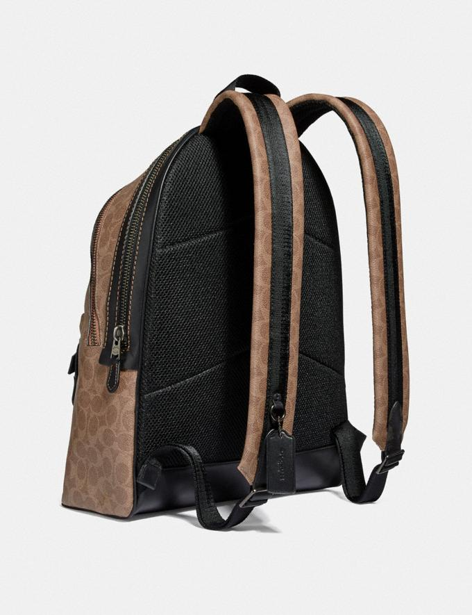 Coach Academy Backpack in Signature Canvas Khaki/Black Copper Men Bags Backpacks Alternate View 1