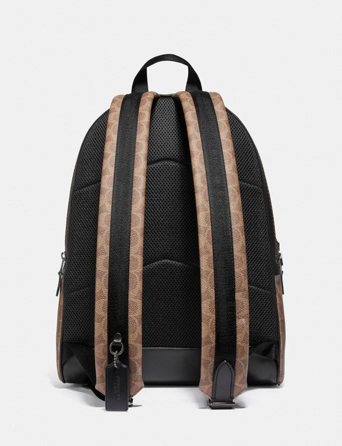 Coach Academy Backpack in Signature Canvas Khaki/Black Copper Men Bags Backpacks Alternate View 2