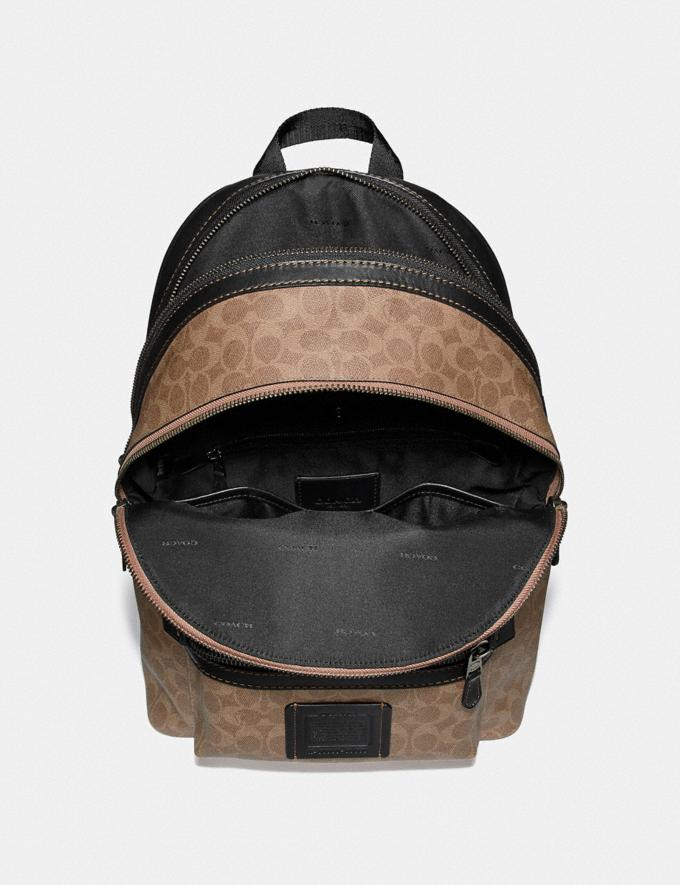 Coach Academy Backpack in Signature Canvas Khaki/Black Copper Men Bags Backpacks Alternate View 3