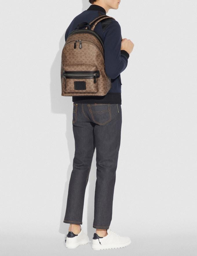 Coach Academy Backpack in Signature Canvas Khaki/Black Copper Men Bags Backpacks Alternate View 4
