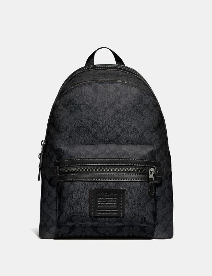 Coach Academy Backpack in Signature Canvas Charcoal/Black Antique Nickel Men Bags Backpacks