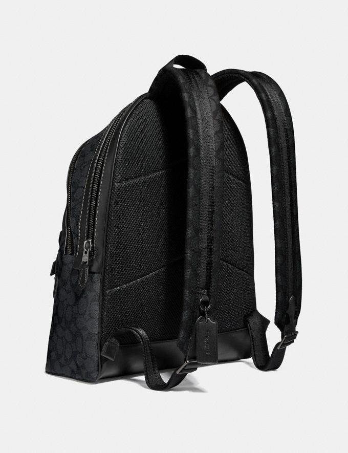 Coach Academy Backpack in Signature Canvas Charcoal/Black Antique Nickel Men Bags Backpacks Alternate View 1