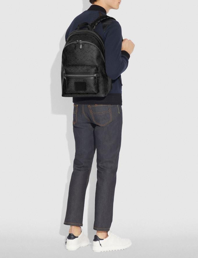 Coach Academy Backpack in Signature Canvas Charcoal/Black Antique Nickel Men Bags Backpacks Alternate View 4