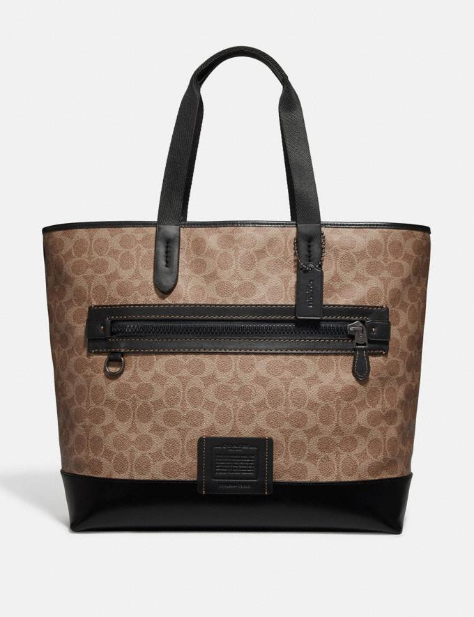 Coach Academy Tote in Signature Canvas Khaki/Black Copper Women Edits