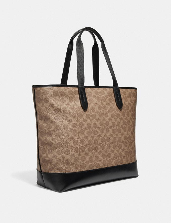Coach Academy Tote in Signature Canvas Khaki/Black Copper Men Edits Signature Styles Alternate View 1