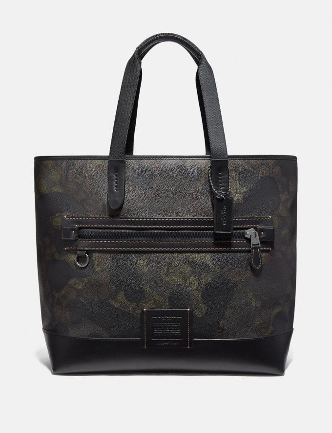 Coach Academy Tote in Signature Canvas With Wild Beast Print Green Wild Beast Signature/Black Copper Men Bags Totes & Duffles