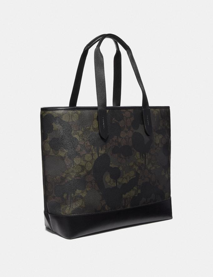 Coach Academy Tote in Signature Canvas With Wild Beast Print Green Wild Beast Signature/Black Copper Men Bags Totes & Duffles Alternate View 1