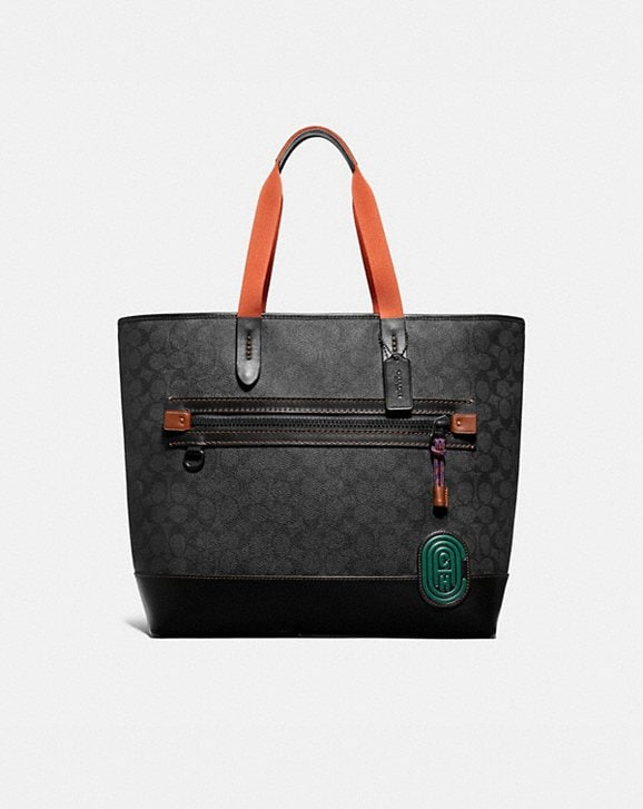 Coach ACADEMY TOTE IN SIGNATURE CANVAS WITH COACH PATCH
