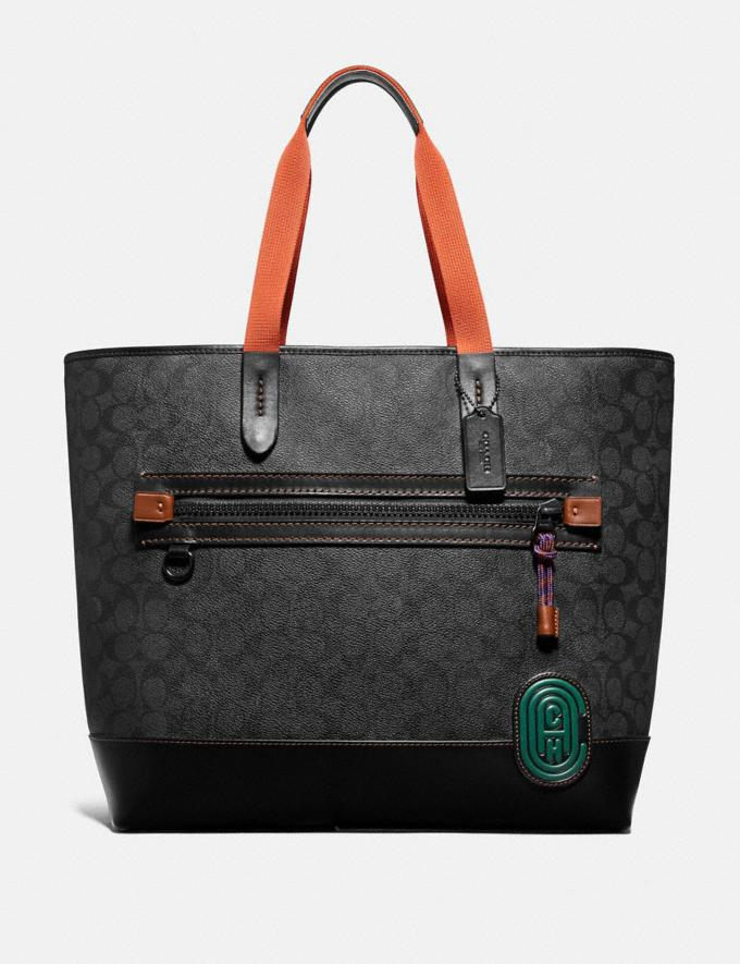 Coach Academy Tote in Signature Canvas With Coach Patch Charcoal/Black Copper Women Bags Totes